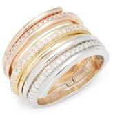 KC Designs Diamond & 14K White Rose Yellow Gold Midi Ring
