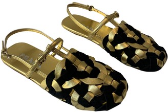 Prada Gold Leather Sandals