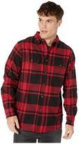 Dickies Long Sleeve Flex Plaid Woven Shirt (Black/Charcoal Red Plaid) Men's Clothing