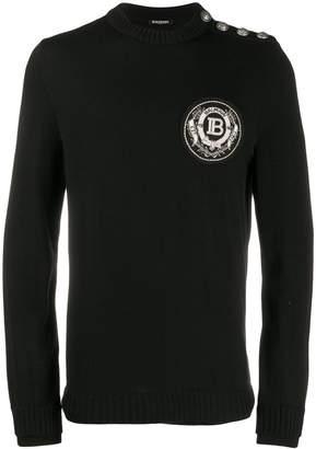 Balmain embellished logo patch knitted jumper