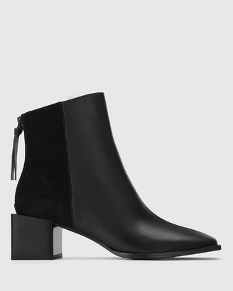 Wittner Aldwin Leather & Suede Square Heel Ankle Boots