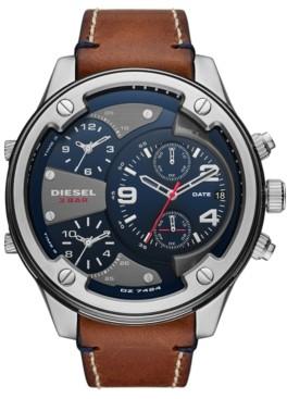 Diesel Men's Boltdown Brown Leather Strap Watch 56mm