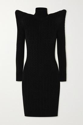 Balenciaga Pagoda Cable Knit-effect Velvet Turtleneck Midi Dress - Black
