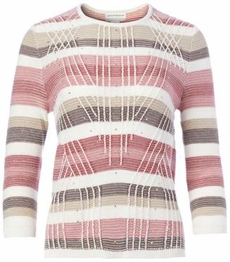 Alfred Dunner Women's Petite Textured Stripe Sweater