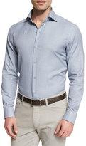 Ermenegildo Zegna Link-Print Long-Sleeve Sport Shirt, Blue