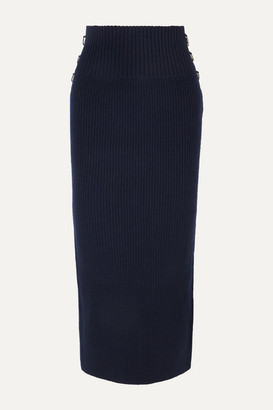 Sacai Embellished Ribbed Wool Midi Skirt - Navy