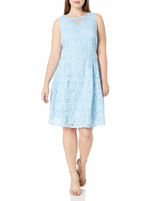 Julian Taylor Women's Plus Size All Over Lace A-line Sleeveless Dress