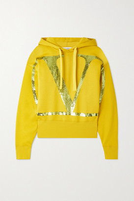 Valentino Cropped Sequin-embellished Cotton-blend Jersey Hoodie - Marigold