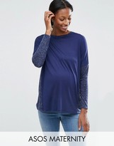 Asos Long Sleeve T-Shirt In Linen Mix
