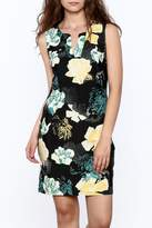 Aryeh Black Floral Sheath Dress