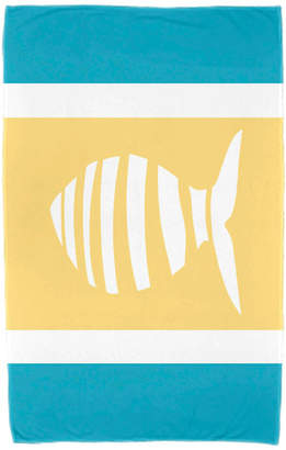 """E By Design 30""""x60"""" Puzzle Fish, Animal Print Beach Towel, Turquoise"""