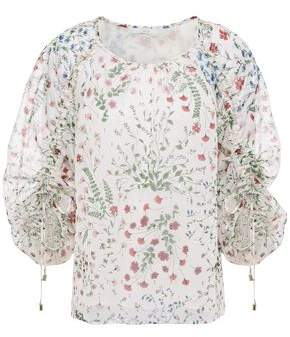 Joie Neema Ruched Floral-print Fil Coupe Georgette Blouse