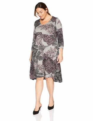One World ONEWORLD Women's Plus-Size 3/4 Sleeve Lattice Back Hi Lo Hem Dress