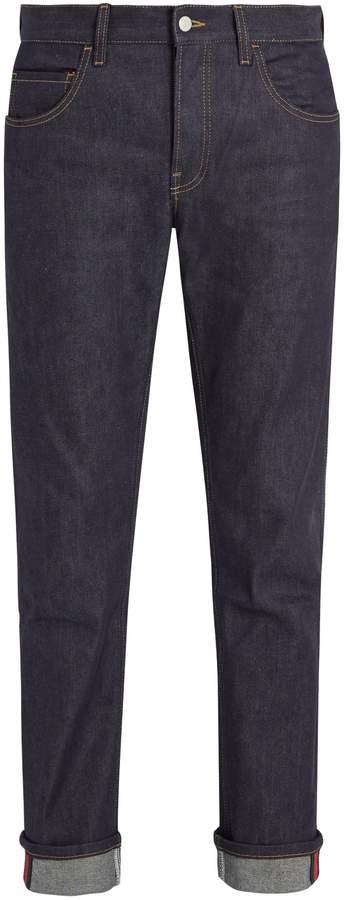 Gucci Straight-leg stretch-denim Web jeans