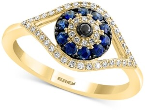 Effy Sapphire (1/4 ct. t.w.) and Diamond (1/6 ct. t.w.) Evil Eye Ring in 14k White or Yellow Gold