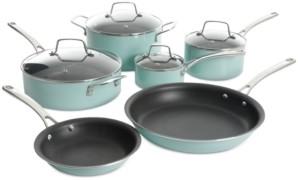 Martha Stewart Collection 10-Pc. Hard-Enameled Aluminum Nonstick Cookware Set