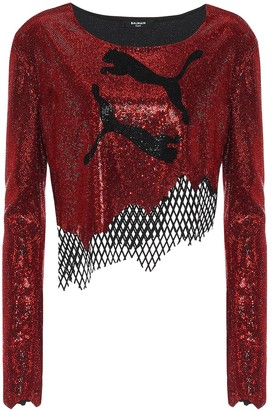 Balmain x Puma embellished top