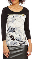 Calvin Klein 3/4 Sleeve Zipper Trim Matte Jersey Top