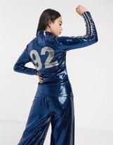 adidas x Anna Isoniemi sequin three stripe high neck longsleeve in indigo