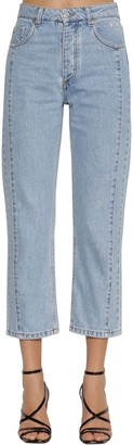 MSGM Cropped Cotton Denim Straight Jeans