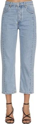MSGM Cropped Cotton Denim Straight Jeans