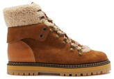 Thumbnail for your product : See by Chloe Eileen Shearling-lined Suede Ankle Boots - Tan