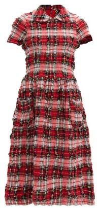 COMME DES GARÇONS GIRL Crinkled Wool-blend Tartan Midi Dress - Red