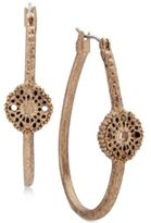 lonna & lilly Gold-Tone Lace Disk Hoop Earrings