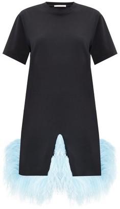 Christopher Kane Plumed-hem Cotton-jersey T-shirt Dress - Womens - Black Blue