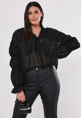 Missguided Plus Size Black Sheer Blouson Blouse