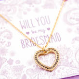 J&S Jewellery Will You Be My Bridesmaid Crystal Heart Necklace