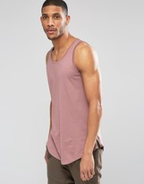 Asos Longline Vest With Curve Hem And Zips In Pink