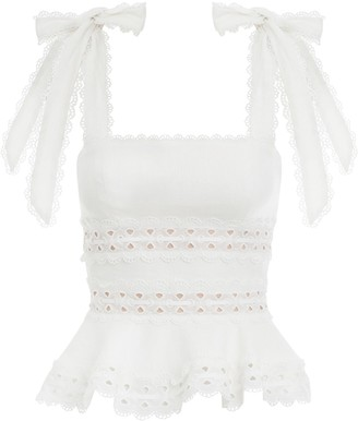 Goodnight Macaroon 'Joey' Tied Strap Lace Crochet Top