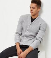 New Look Light Grey Knitted Double Pocket Cardigan
