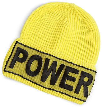 Versace Power Manifesto Bright Yellow Wool Knit Hat
