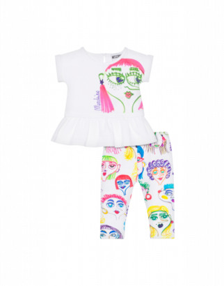 Moschino T-shirt And Leggings Combination With Face Print Unisex White Size 2a It - (2y Us)