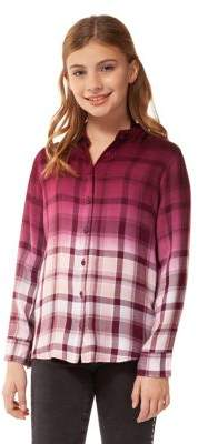 Dex Girl's Lace-Back Tie-Dye Plaid Shirt