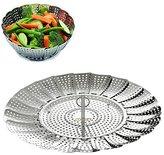 "BangShou Vvbox Vegetable Steamer Basket - Foldable Stainless Steel Food Steamer Insert - Size 5.3"" to 9.3"""