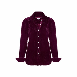 At Last... Karen Silk Velvet Shirt Fuchsia