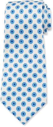 Kiton Men's Flower-Print Silk Tie