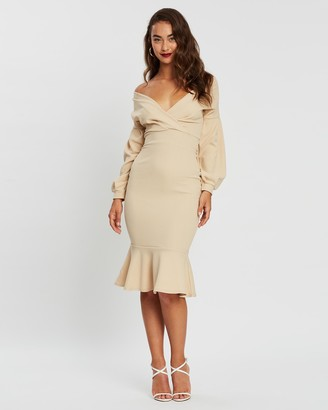 boohoo Off-The-Shoulder Frill Hem Midi Dress