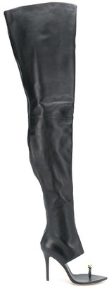 Natasha Zinko Thigh-High Open Toe Boots