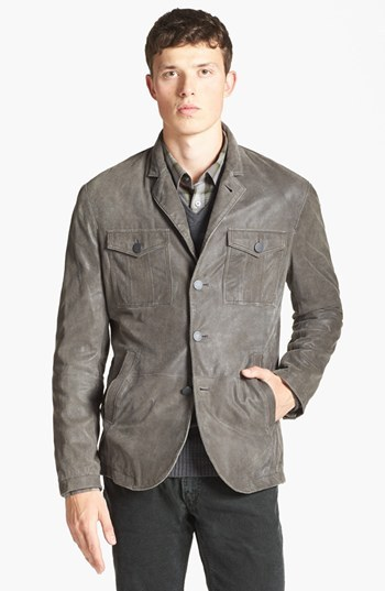 John Varvatos Military Leather Jacket