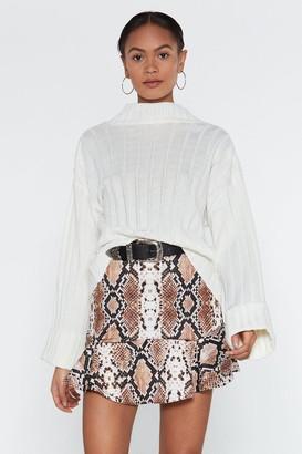 Nasty Gal Womens Flip It Snake Skirt - brown - 4