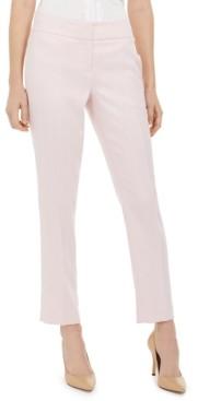 Kasper Herringbone Straight-Leg Dress Pants