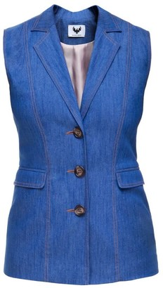 Diana Arno Evelyn Denim Vest With Topstitched Details