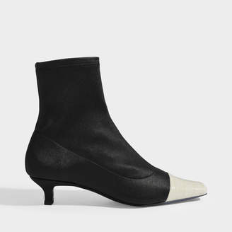 BY FAR Karl Two-Tone Ankle Boots In Black Stretch Leather
