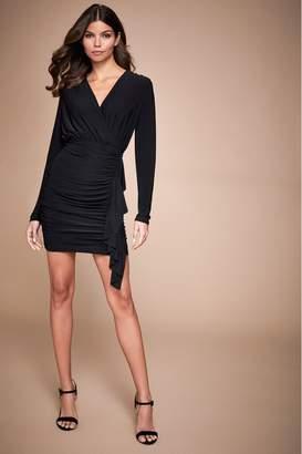 Lipsy Long Sleeve Ruched Mini Dress - 10 - Black