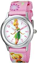 Disney Kids' Tinker Bell Stainless Steel Plain Case, W001582, Printed Strap, Analog Display, Pink Watch