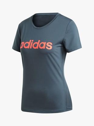 adidas Design 2 Move Logo T-Shirt, Legacy Blue/Signal Pink